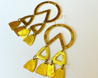 TEMPLE Hammered Golden Brass Chandelier Earrings