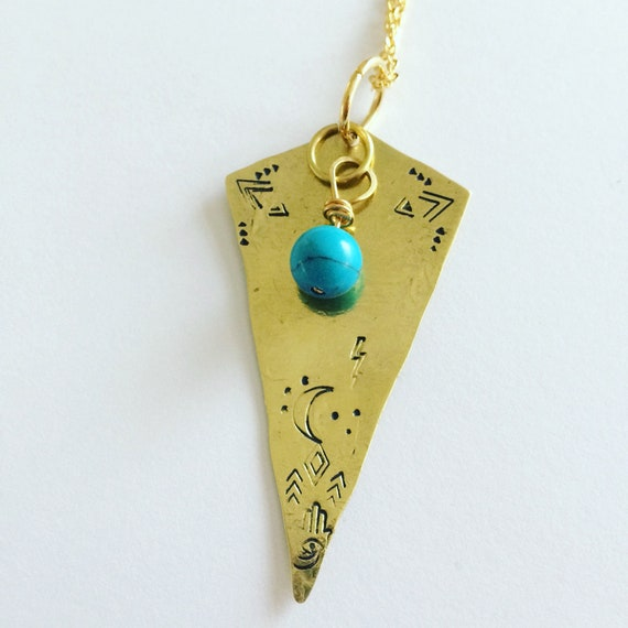 Long Gold Diamond Turquoise Necklace Raw Brass Precious Stone Moon Hand Stamped Hammered December Birth Stone Protection Healing Boho