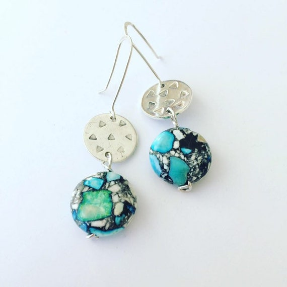 Mosaic Terrazzo Magnesite Bead Earrings with Sterling Silver Triangle Hammered Disc Healing Bohemian Gypsy