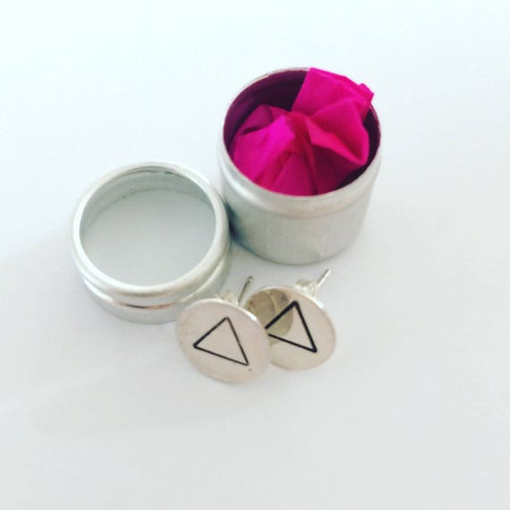 Sterling Silver Studs with Hammered Triangle Geometric Modern Minimal Minimalist Simple Triangular Unusual Positivity Art Destiny