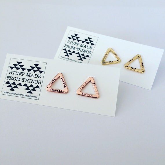 Gold Rose Gold Plated Triangle Studs Tribal Boho Bohemian Patterned Small Geometric