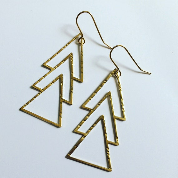 Gold Raw Brass Triple Triangle Long Earrings Art Deco Gypsy Geometric Statement Drop Boho Bohemian Minimalist Stylish Feminine Delicate