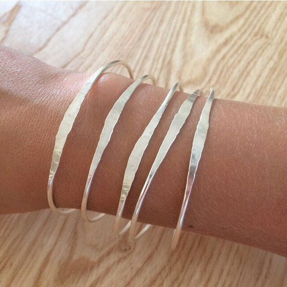 Hammered Sterling Silver Bangle Cuff Bracelet Delicate Feminine Planished Minimal Minimalist Modern Classic Simple Stacking  Gift Wrapped