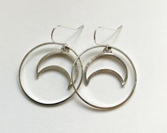 Silver Tone Moon Hoops - Hoop Earrings - Celestial - Crescent Moons