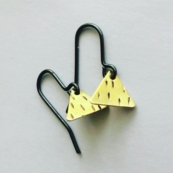 Gold Raw Brass Triangle Earrings Boho Bohemian Festival Minimalist Cool Minimal  Geometric Small Tiny Cute Subtle Feminine Gift Hammered