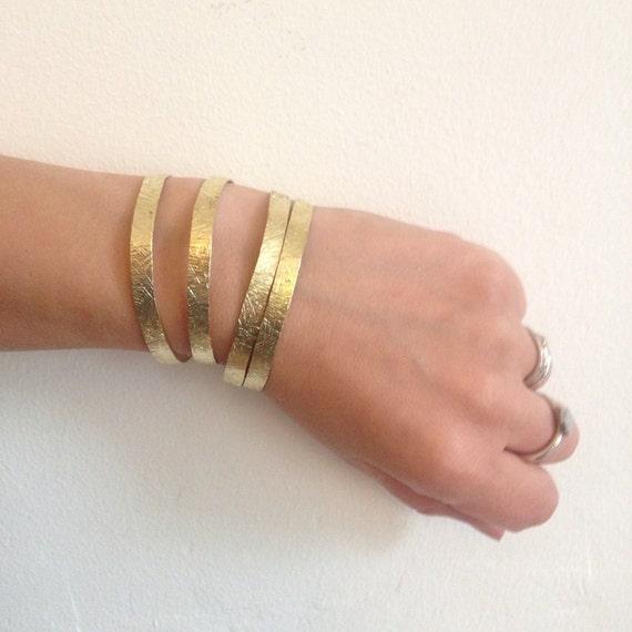 Gold Hammered Crosshatch Brass Adjustable Slim Cuff Delicate Feminine Festival Gypsy Boho Bohemian Stacker Bangle Bracelet Gift Stacking