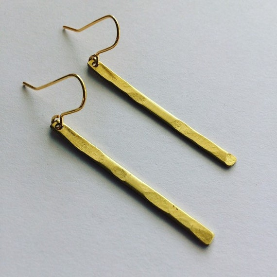 Long Gold Brass Earrings, Hammered, Simple, Geometric, Boho, Delicate, Feminine, Modern, Minimalistic