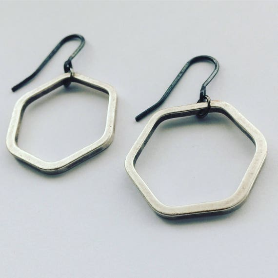 Industrial Silver Tone Brass Hexagon Earrings Modern Geometric Simple Minimal Minimalist Understated