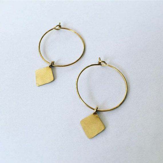 Small Brass Gold Hoops - Diamond -Simple - Delicate - Geometric