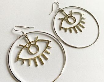 Big Silver Tone or Black Eye Hoops - Earrings - Statement - Evil Eye -