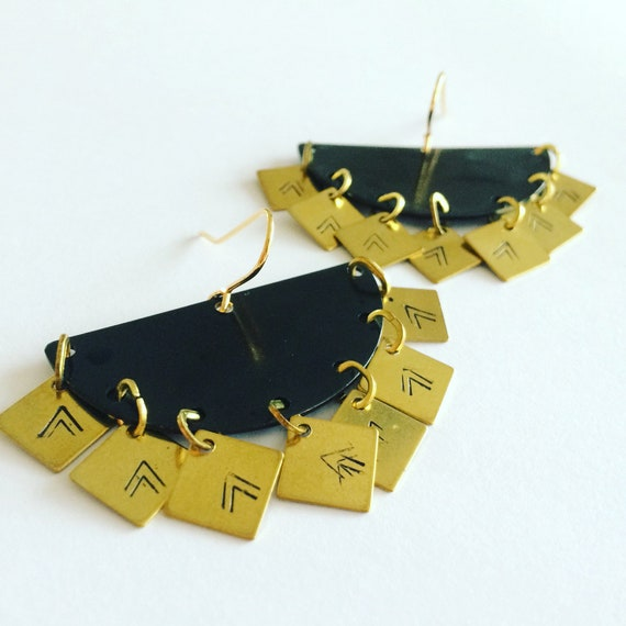 Black And Gold Chandelier Statement Earrings Raw Brass Chevrons Party Sparkle Semicircle