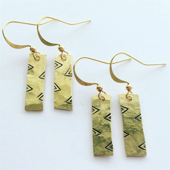 Gold Planished Raw Brass Rectangular Drop Earrings with Tribal Stamps - Boho Bohemian Gypsy Tribal Pattern Chevron Geometric Modern Unusual