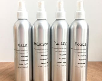 Aromatherapy Room Spray - essential oil blends. air freshener. all natural. calming. odor fighting. improve focus. mood booster