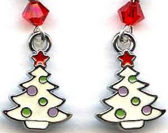 Enameled Trees Sterling Silver Earrings
