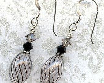 Smokey Swirls Sterling Silver Earrings