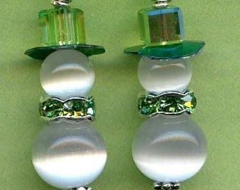 Green Snow People Sterling Silver Earrings