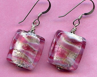 Pink and Silver Swirls Sterling Silver Earrings