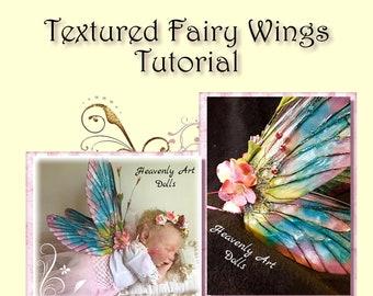 OOAK DIY Fairy Wing making tutorial for Art Dolls,  Dolffie or Reborn Baby Dolls. 3 Sheets of Beautiful Wings and Wing Making Tutorial File