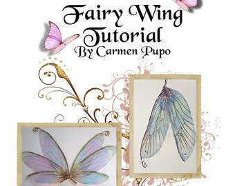 Reduced OOAK Fairy Dolffie 12 Sheets of Beautiful Wings and Wing Making Tutorial File wings for dolls