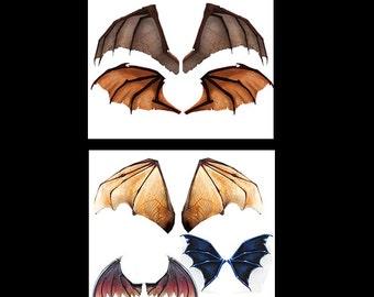 Digital Download OOAK Fairy Dolffie Dragon Wing sheets wings for dolls