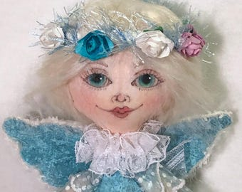 Angel Cloth Art Doll, OOAK Fabric Textile Doll, Collector rag doll