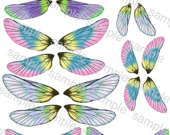 Digital Download OOAK Fairy Dolffie Art Doll and Bear BJD Cicada Butterfly Dragonfly Wings