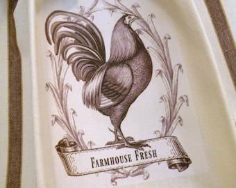 Farmhouse Fresh Rooster kitchen towel Vintage style cotton Shabby Prairie Farmhouse ECS RDT FVGteam