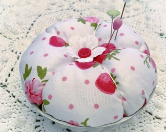 Pink Strawberries Pin/Jewelry Keep pink polka dots jello mold  ECS svfteam RDT Free ship USA