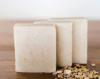 PEPPERMINT OATMEAL natural soap, gift for him, gift for boyfriend, hand soap, bar soap, gentle soap, handmade by queen of the meadow, 3.5 oz