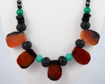 The Tropics, Necklace with Brazilian Sardonyx, Coconut, Shungite & Quartz - La Mire New York