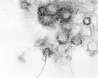 Flowers in the Dustbowl, Black and White Art Print, Fine Art Drawing