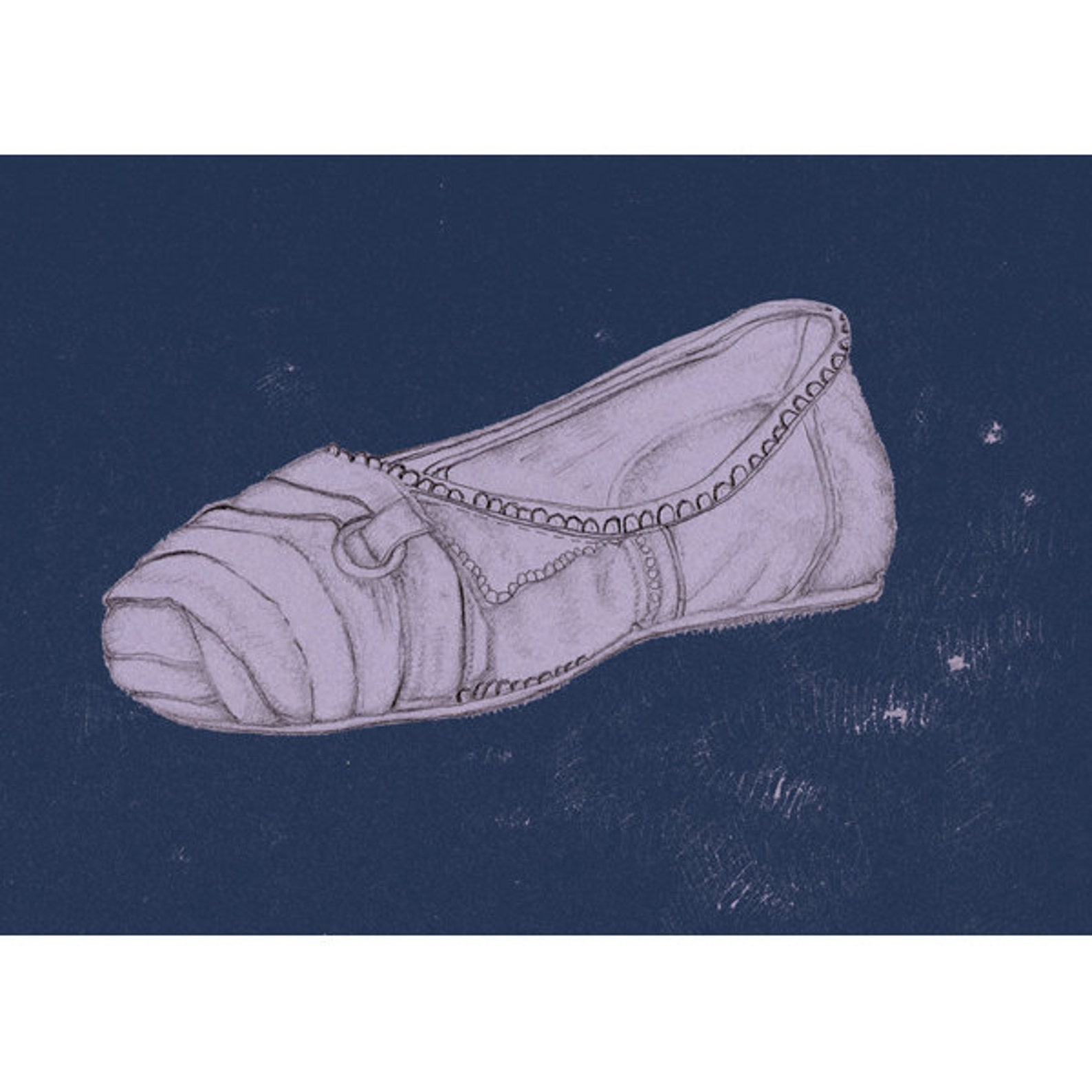 drawing of a shoe, lavender ballet flat, 8x10 art print, midnight blue, light purple