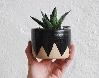 Little Mountain Planter - speckled planter black ceramic plant pot geometric triangle design, black stoneware flower pot with wax resist