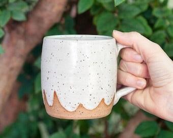 White Ceramic Cloud Mug, speckled handmade mug ceramic coffee cup, white mug, speckled mug cloud pattern featured on Etsy Blog