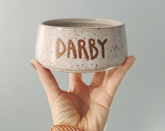 Customized Dog Bowl, white ceramic dog bowl, white bowl with wax resist cat or dog name, pottery bowl, ceramic pet bowl