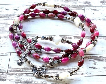 Catholic rosary sterling silver, silver rosary, baptism gift, pink, guardian angel, catholic gift, catholic rosary beads, Rosenkranz-Atelier
