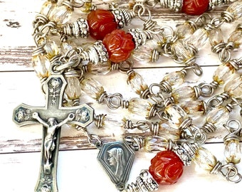 One of a kind rosary with antique silver parts, small beads rosary, rose crucifix, catholic rosary beads, vintage, Rosenkranz-Atelier