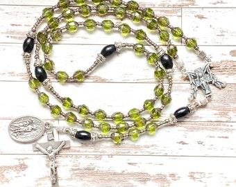 Saint Hubert and Saint Roch handmade rosary, catholic rosary beads, rosary for men, hunter, catholic Christmas gift, Rosenkranz-Atelier