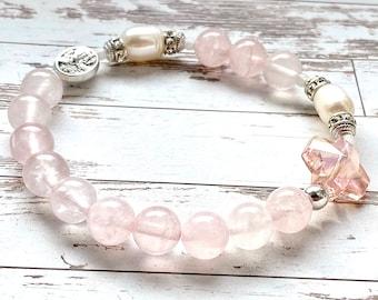Elastic rosary bracelet, Guardian Angel, Archangel Michael, 8mm rose quartz and cultured pearls, rosary beads, bracelet, Rosenkranz-Atelier