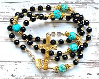 Rosary, catholic rosary, gold plated rosary, vintage french rosary, handmade rosary, one of a kind, catholic art, Rosenkranz-Atelier