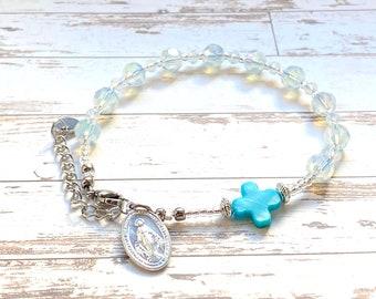 Rosary bracelet, catholic bracelet, miraculous medal, first communion, catholic jewelry, 6mm beads, single decade rosary, Rosenkranz-Atelier