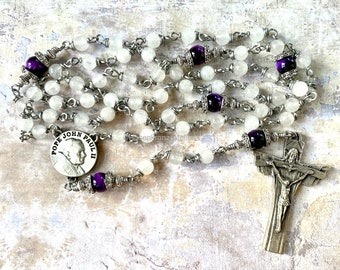 Rosary, Pope John Paul II, first communion, wire wrapped, pewter, confirmation, prayer, catholic Jewelry by Rosenkranz-Atelier