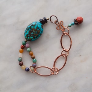 Chunky Bracelet with Handmade Tile and Semiprecious Stones Boho Bracelet READY to SHIP