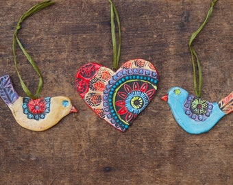 Love Birds with Heart Ornaments Couple's First Christmas Ornaments Pottery Ornaments Set of 3 Ceramic Ornaments First Christmas Married