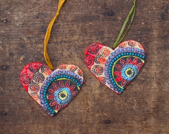 Heart Ornaments Handmade Ornaments Couple's First Christmas Ornaments Pottery Ornaments Set of 2 Ceramic Ornaments Tree Trim Wedding Gift