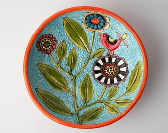Cropped Blossom on Red READY to SHIP Hand Carved Ceramic Ring Dish with Turquoise and Peridot Mosaic Accents
