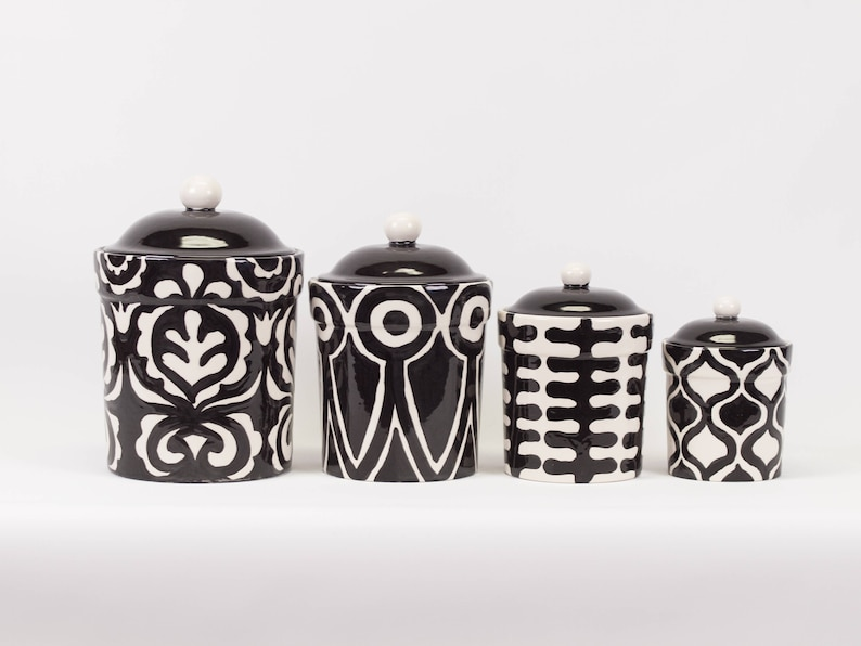 Kitchen Canister Set Canister Set Kitchen Canisters Ceramic Canister Pottery Canister Black White Kitchen Gift For Bride Wedding Gift Abw