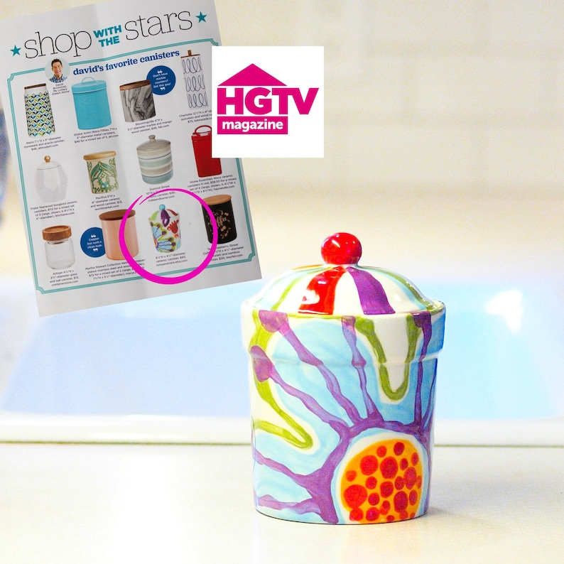 Ceramic Canister  As Seen in HGTV Magazine  Small Canister image 0