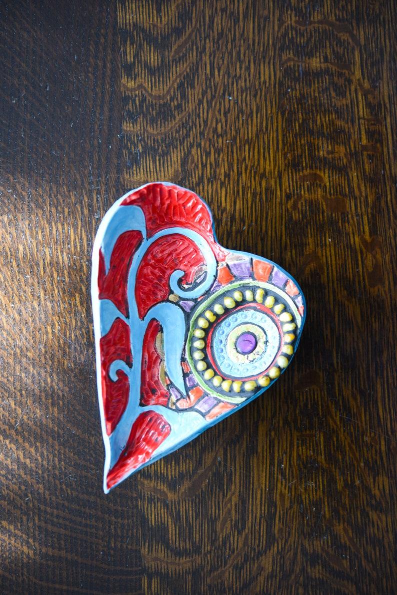 Heart Ring Dish Heart Bowl Mosaic Art Bowl Two Hearts Valentine Art Bowls Mosaic Trinket Bowls Entryway Decor Valentine Gift Gift for Bride