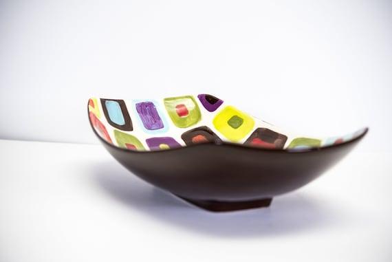 Ceramic Serving Bowl READY to SHIP Small Bowl Nut Bowl Geometric Dish Colorful Scooped Bowl Midcentury Modern Home Decor Retro Decor GF